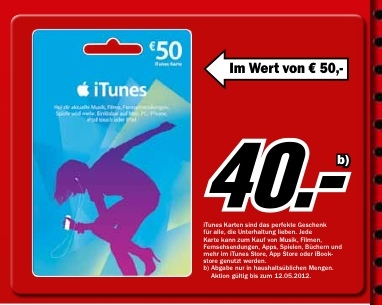 50 Euro iTunes Karte