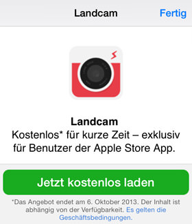 Landcam in der Apple Store App