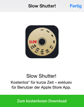 Appstore Aktion Slow Shutter!