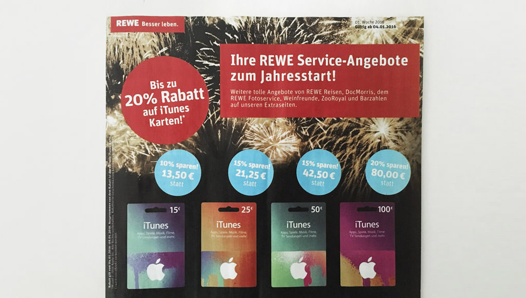 REWE iTunes Rabatt Jan. 2016