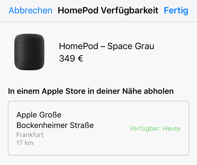HomePod im Apple Store