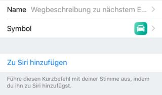 Einstellunge iOS 2 Siri Kurzbefehle
