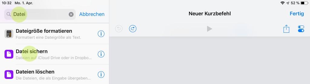 Screenshot für Aktion Datei sichern in iOS 12 auf iPad
