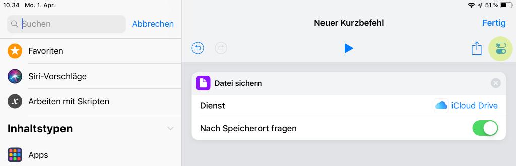 Screenshot für Kurzbefehl Einstellungen in iOS 12 auf iPad