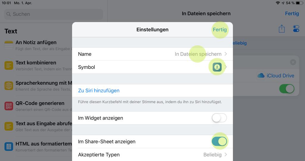 Screenshot für die Kurzbefehl Einstellungen in iOS 12 auf iPad