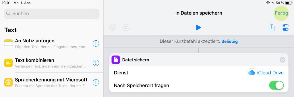 Screenshot zum Speichern des Kurzbefehls in iOS 12 auf iPad