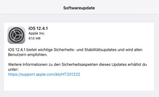 screenshot iOS 12.4.1 Update