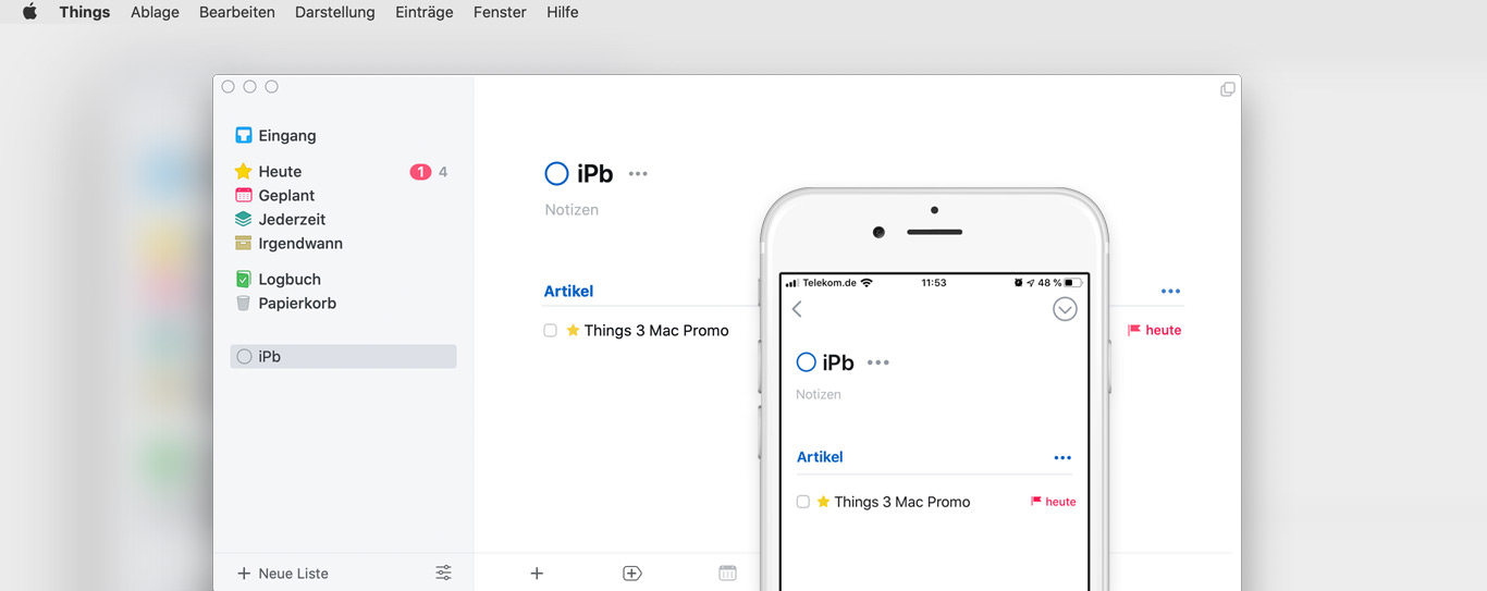 Screenshot der Things 3 App