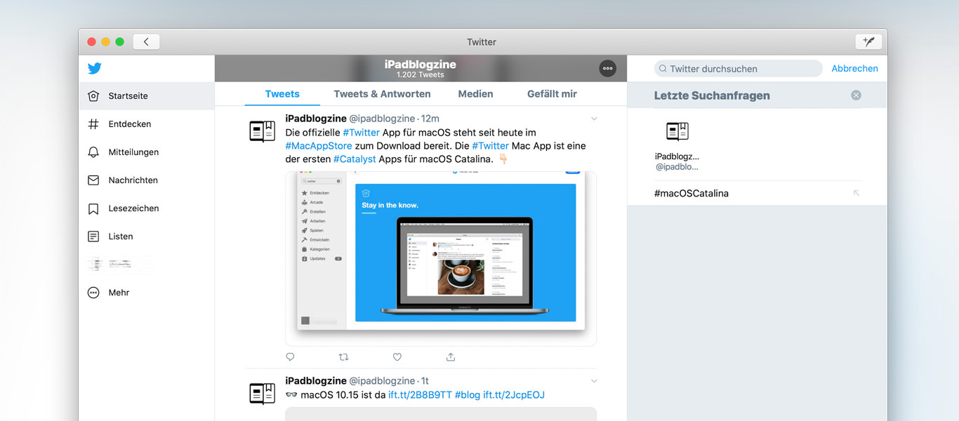 visual Twitter für macOS Catalina