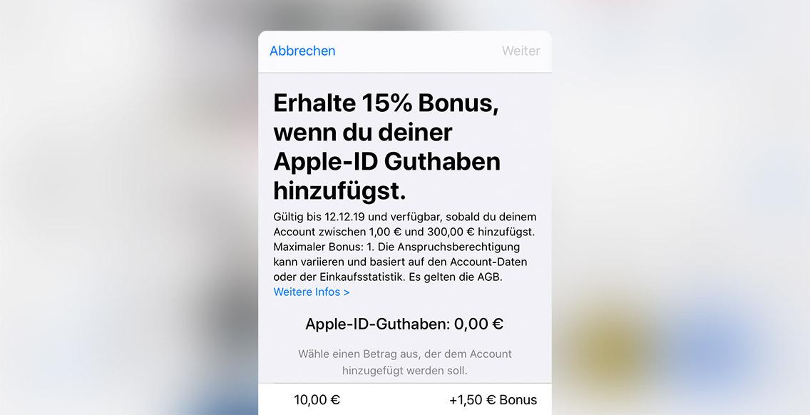 App screen 15 % Bonus von Apple
