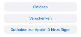 Einlöse Button in der App Store App