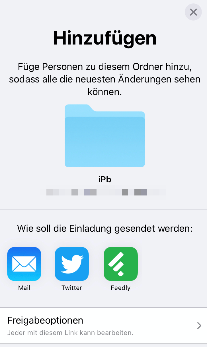 Popover Fenster Ordnerfreigabe iPadOS 13.4 Update