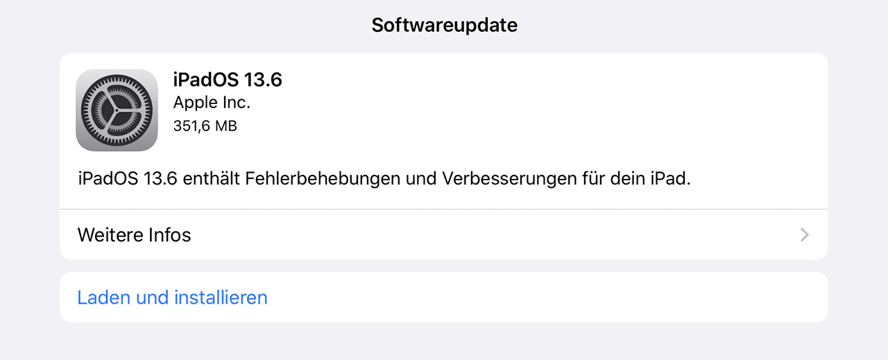 Screenshot iPadOS 13.6 Update Info