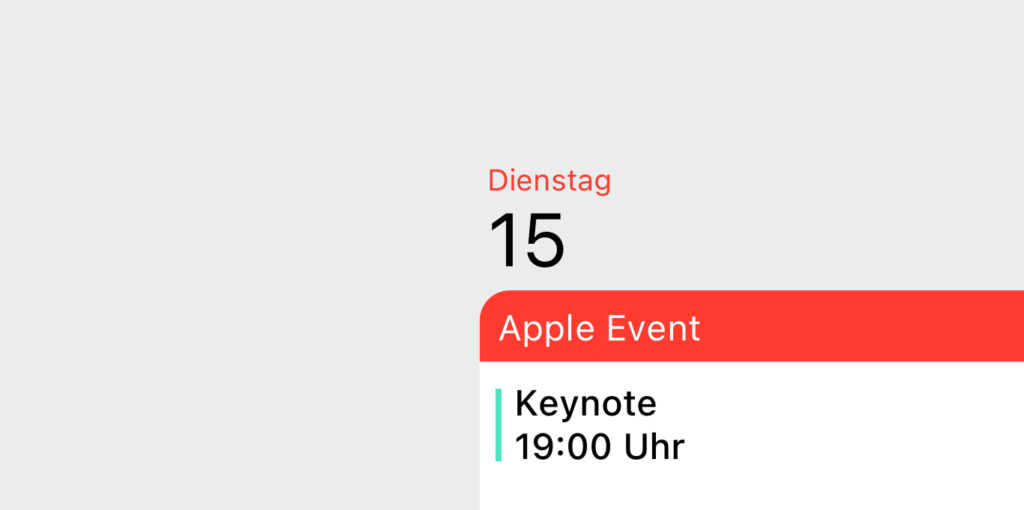 Kalendereintrag Apple Keynote 15.09.2020