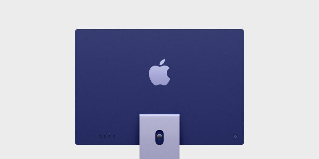 Rückseite blauer iMac